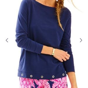 Lilly Pulitzer Jojo navy long sleeved shirt
